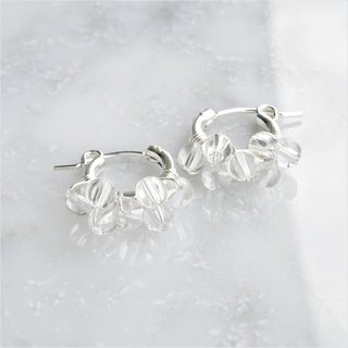 SV925SF*Crystal Quartz bubble wrapped pierced earring / earring S