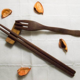 Handmade wooden tableware group with chopsticks