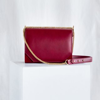 PANDORA LARGE - WOMAN LEATHER SHOULDER BAG- DEEP RED