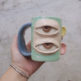 Handmade ceramic mug 2 eye in green pastel :)