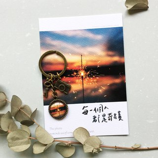 Small things photo inlaid key ring - miracle