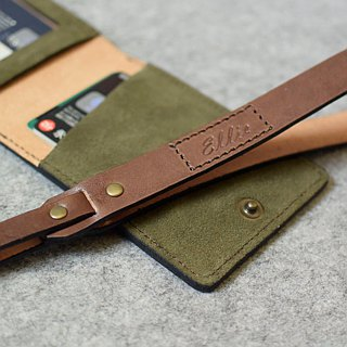 Handmade leather goods Horizontal certificate folder Copper buckle diagonal bag with color (with neck strap) color + dark wood leather