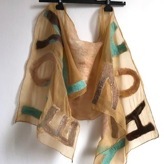Silk Chiffon Scarf with Felted Letters Personalized gift for women