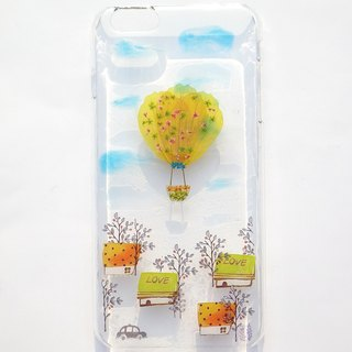 Handmade phone case, Pressed flowers phone case, iPhone 6 plus, Hot air balloon