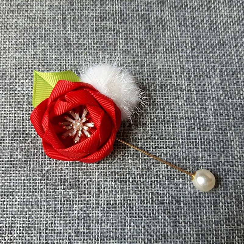 Joy Christmas Pearl Brooch