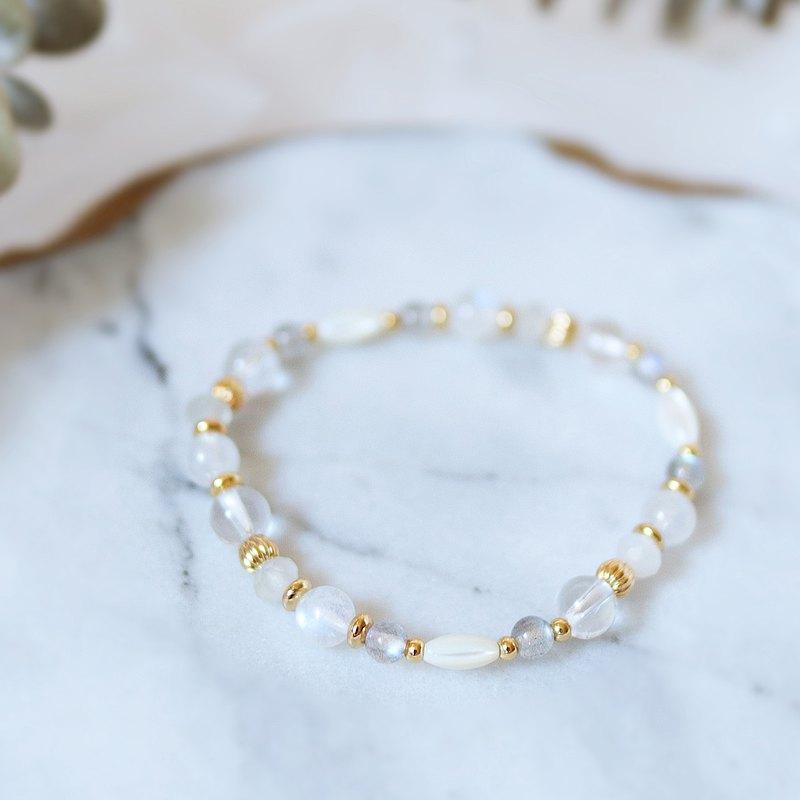 天然石系列肆 藍月光石 白月光石 拉長石 白水晶 貝珠 手鍊