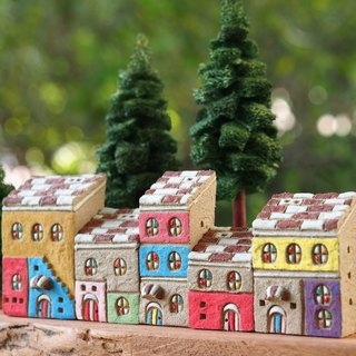 【Colorful Village】 Colorful Village - Hand-painted Fairy Tale House - Rock Grey - Red and White Roof 5 Purchases (Without Wood Accessories and Handmade Tree) Order Ordering