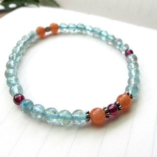 [Carrot on the water] Sun Stone x Apatite x Purple Tooth x925 Silver - Handmade Natural Stone