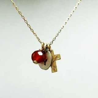 K18 karat gold cross Layered Necklace for Ladies