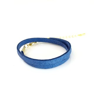 Marine blue - suede roping bracelet (also can be used as a necklace)
