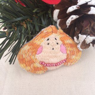 C'est trop Mignon \\ * handmade embroidery carve orange fat lady pin