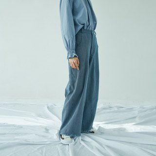 Gray-blue striped denim wide pants wide-leg pants