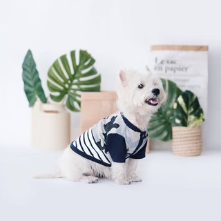 Denim Camou Striped Jacket Shirt | For Dogs