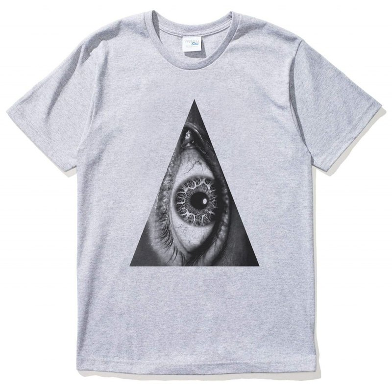 Triangle Eye short-sleeved T-shirt gray triangle eye geometry design own brand fashion round bright justice
