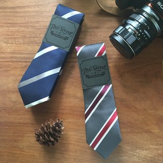 (THE GENT) Night Blue Silver Stripe | Grey Vintage Red Crimson Stripe Neck Tie