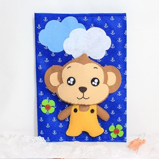 Little Monkey music than the rabbit LoveRabbit- manual envelope - hand sewn + boy + blue - note book covers, gift, mom manual envelope