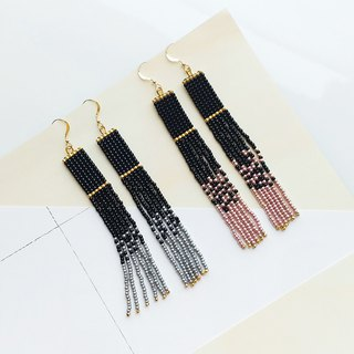 Black - Long Beaded Tassel Earrings