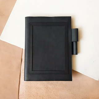 Leather book cover _ MUJI B6 size _ postcard version _ black
