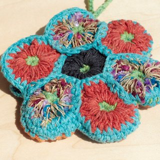 Eastern Europe, a limited line of wind handmade cotton crocheted purse / storage bag / cosmetic bag - sky blue flowers purse