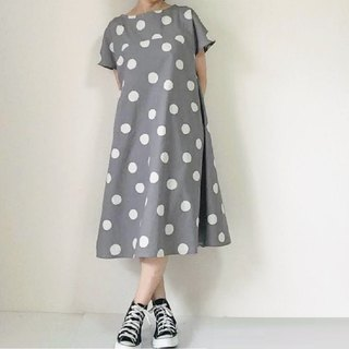 Snow polka dot flare dress dress cotton linen light gray color