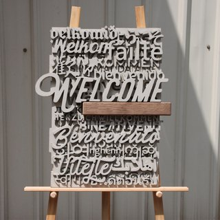 Cement Multi-Language Greeting Card - Wood