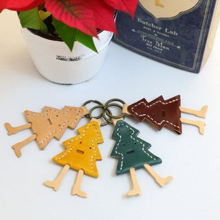 Christmas hand-stitched leather bag - Christmas tree key chain