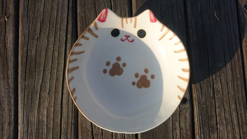 Hey!鳥朋友!胖貓貓深盤-咖啡虎斑貓貓