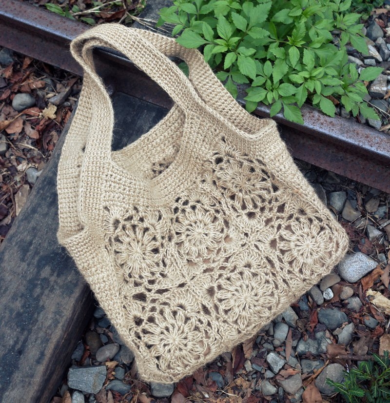 Handmade - beautiful hand-woven bag like window grille - warm hand-woven hemp rope bag - with inner section