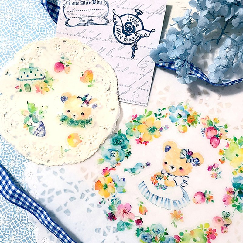 Little Alice Blue flowers stickers - Spring garden