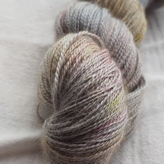 Hand dyed lace thread. Marshmallow (young alpaca / silk / cashmere)