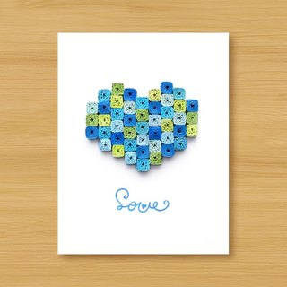 Handmade Roll Paper Card_Marine Style Mosaic Love...Lover Card, Father Card, Wedding Card