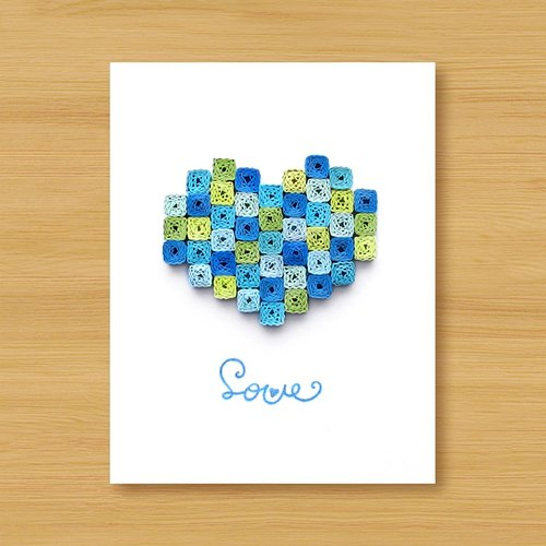 Hand roll 8bit card: ocean style mosaic love (birthday card, lover card, father card, wedding greeting card)