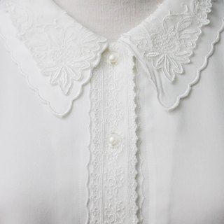 [RE0215T1752] Nippon forest department lace vintage double collar white shirt