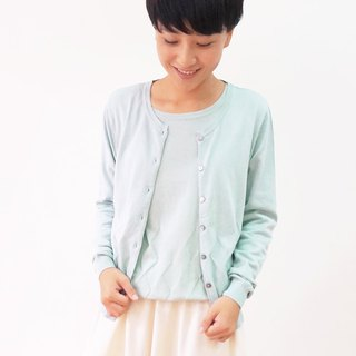 Organic Cotton Knit Cardigan - Aqua Blue