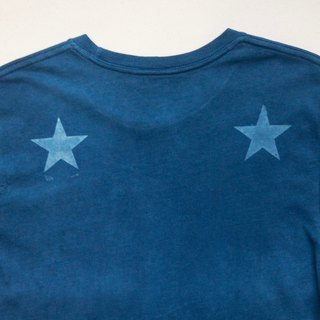 Indigo dyed indigo organic cotton - BLUE STAR DARK TEE star Ssize
