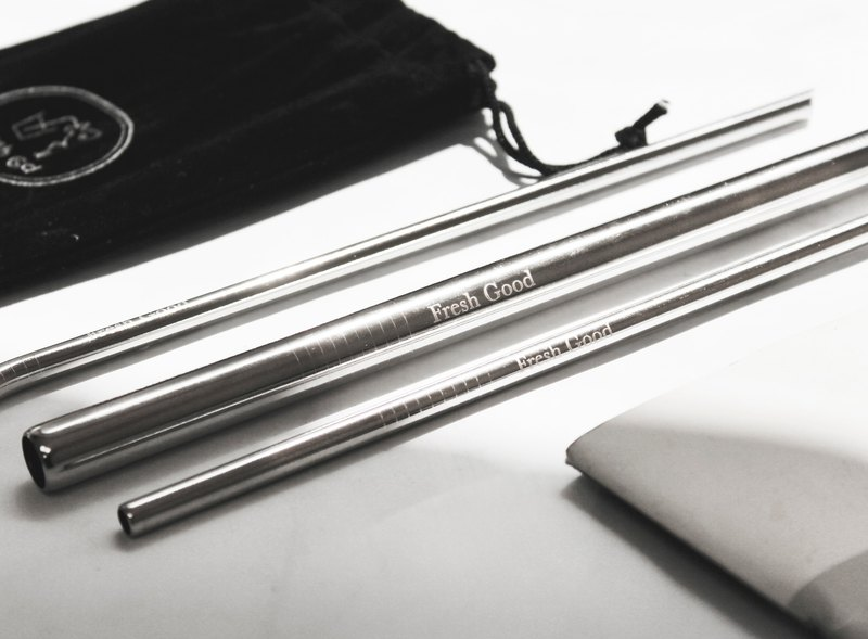 L316 stainless steel straw ( silver ) 4 in 1