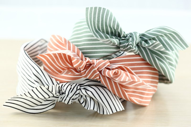 Striped bow wide hair band