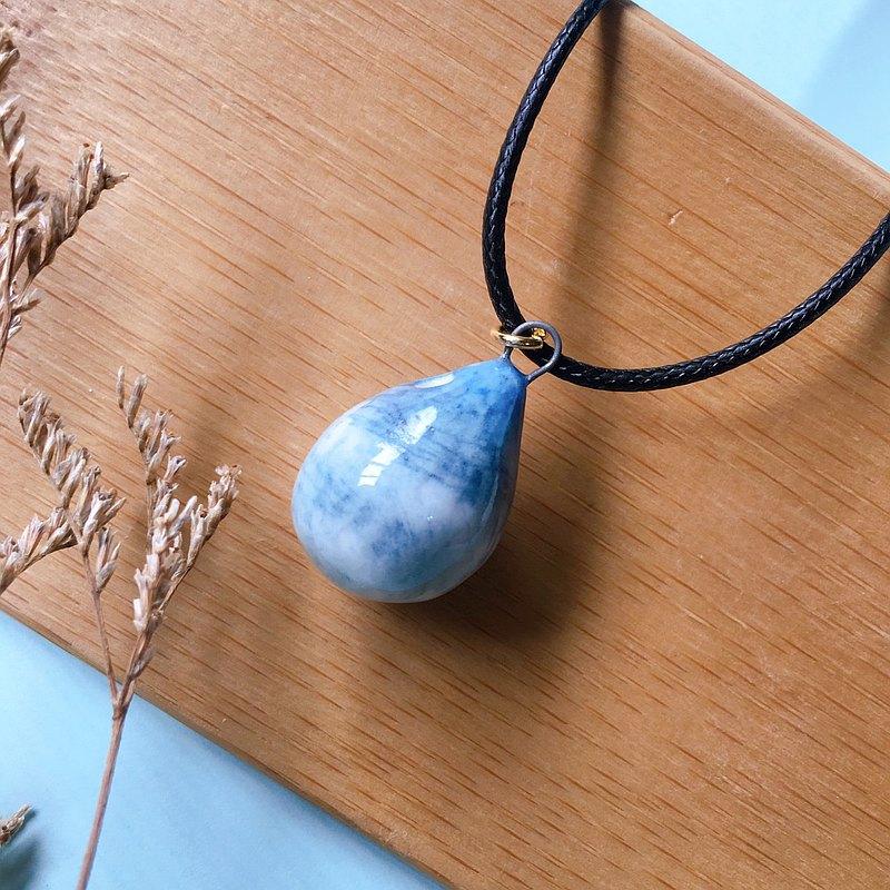 手作白瓷 香水精油項鍊 藍灰漸層款 擴香
