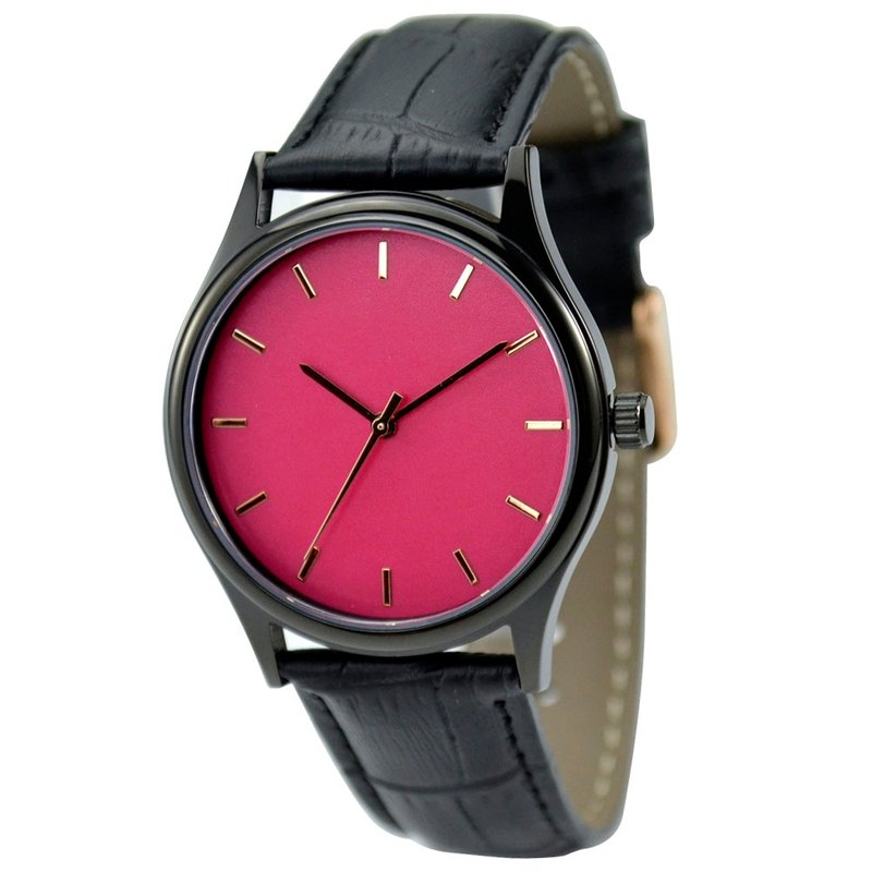 Simple Black Watch - Rose gold nail - pink face - global free transport
