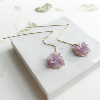 Real flower Purple Hydrangea Earrings 18KGP