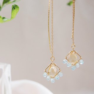Swanlace Wenyu citrine diamond pendant handmade long earrings earrings