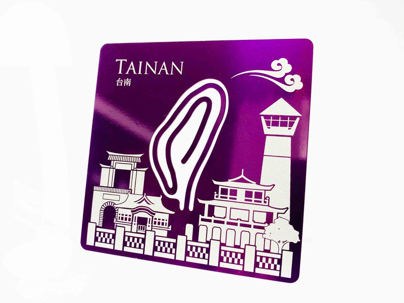 Taiwan Coaster & Card Clip_Tainan_ purple