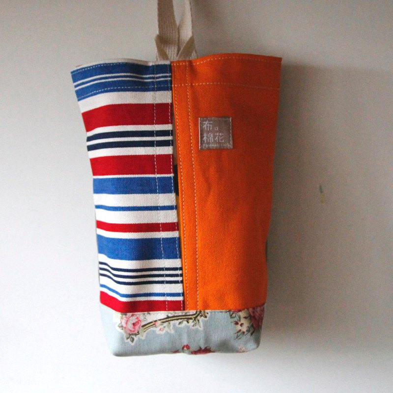 Hanging Tissue Box, housewarming,  Bright orange canvas and Horizontal stripes