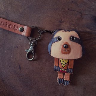 Cute Superman Sloth Cowhide Leather Keyring Lettering (Customer, Birthday Gift)