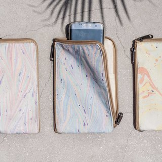 Handmade canvas marble phone holder storage bag phone bag leisure card sets - marine watercolor floating dye