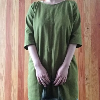 Handmade cotton and linen green leaf six-point sleeve pocket small robe dress multi-color optional