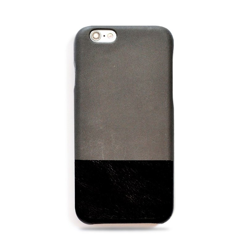 Customized light grey with black leather IPHONE 6 phone case