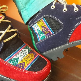 Peruvian style boots - red color dark blue