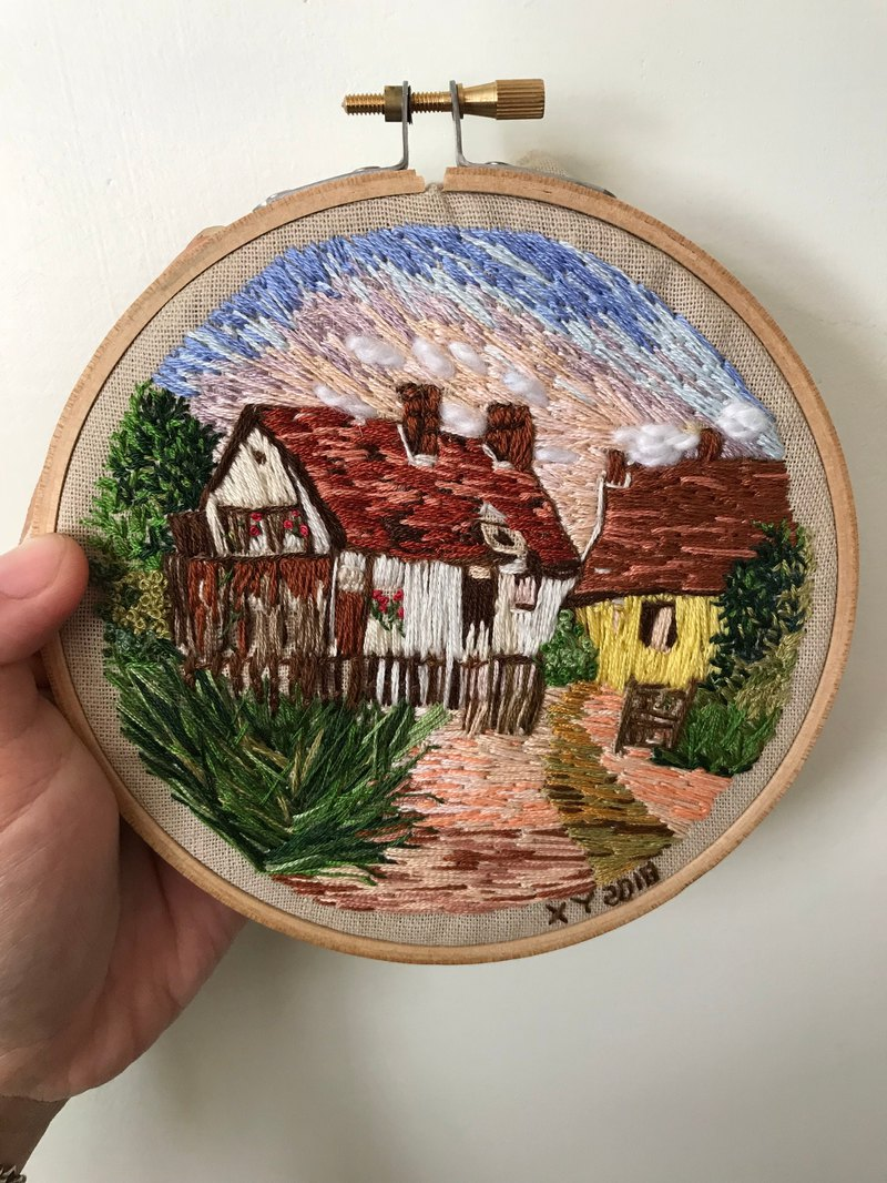 Wednesday hand embroidered Yorkshire hoop wall hanging