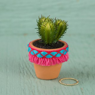 Ribbon modeling mini clay potted plants - peach | PLNT007